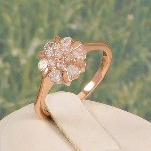 Rose Gold  Diamond Cluster Ring
